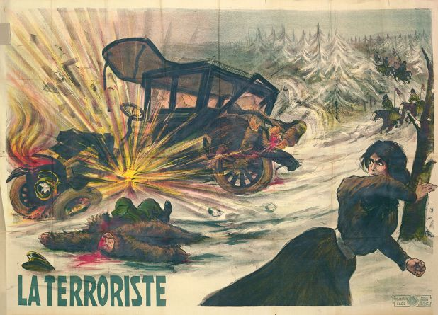 La Terroriste, a 1910 poster depicting a female member of the Combat Organization of the Polish Socialist Party throwing a bomb at a Russian official's car.