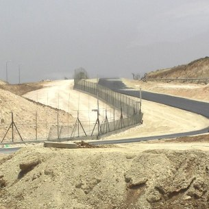 Israeli West Bank Fence – North of Meitar, near the southwest corner of the West Bank, in 2006.