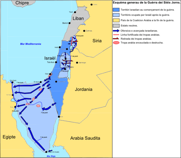 Map of the military movements and territorial changes during the Six-Day War. The territory of Israel before the war is colored royal blue on this map, while the territories captured by Israel during the war are depicted in light blue. Map: Nicolas Eynaud