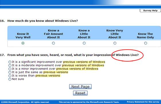 Microsoft.com survey
