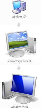 Windows XP vs Iconfactory concept vs Windows Vista
