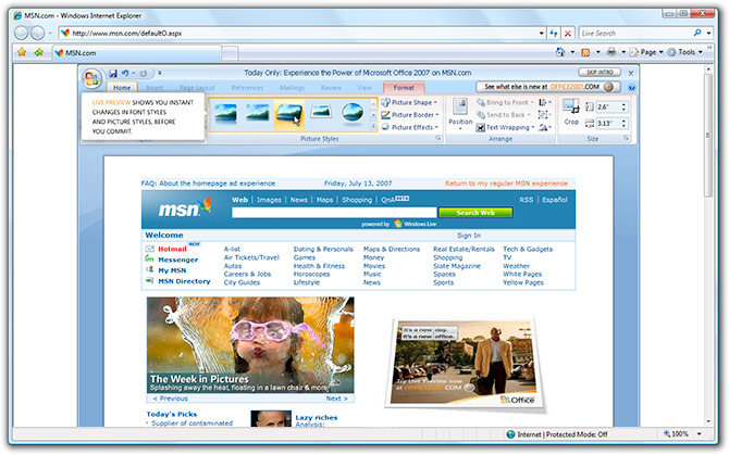 Office 2007 advertisement on MSN.com