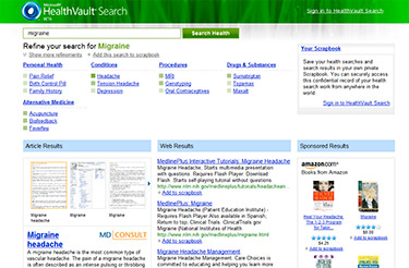 Microsoft HealthVault Search