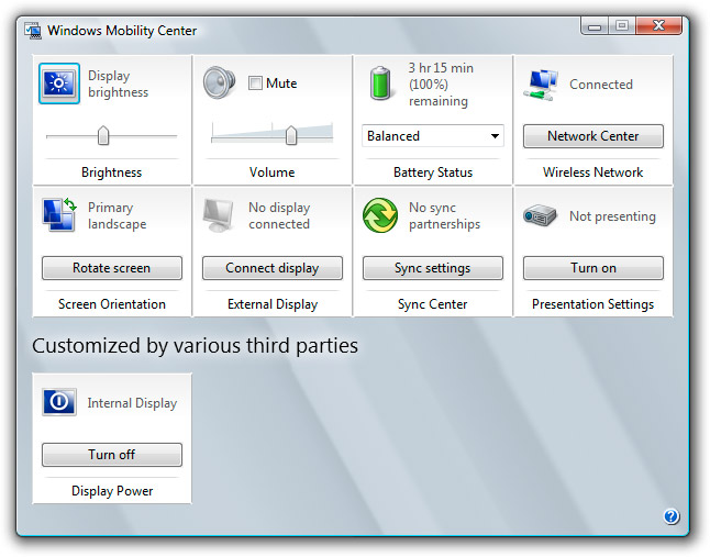 Windows Mobility Center - Third party tiles