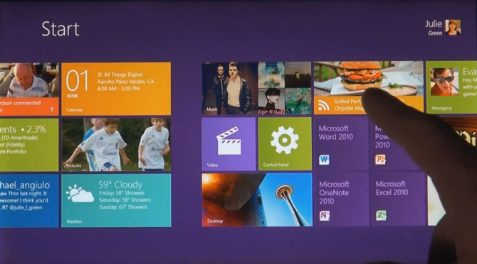 Windows 8 Tablet UI D9 demo