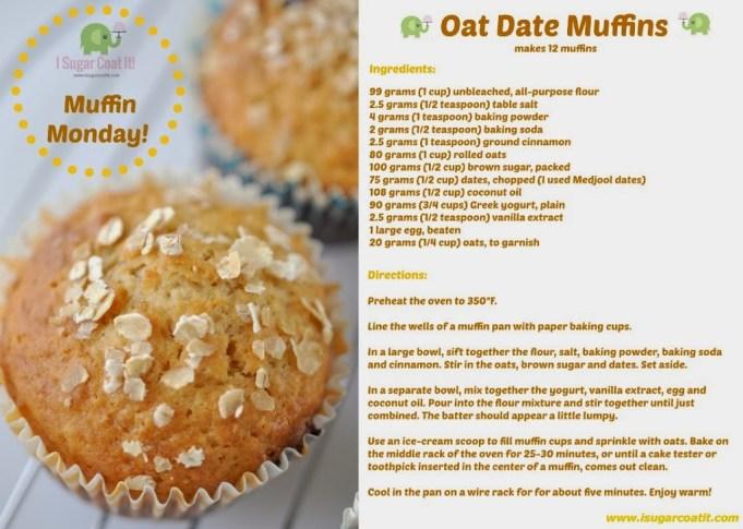 Oat Date Muffins Muffin Monday