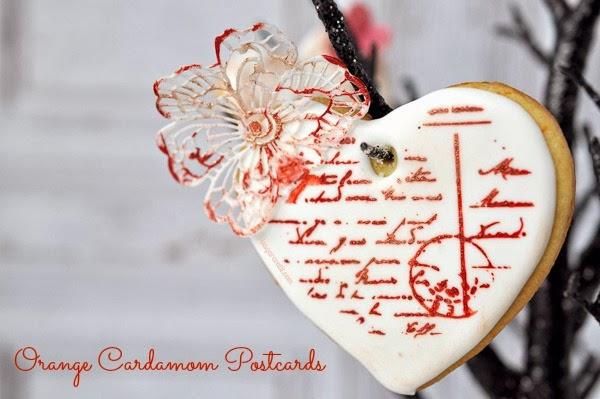 Valentine's Day Stamped Orange Cardamom Cookie Postcards