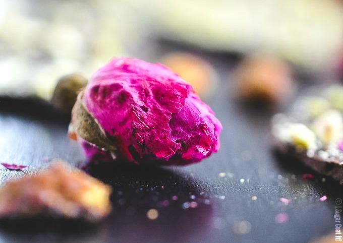 Pistachio Rose Dark Chocolate Bark