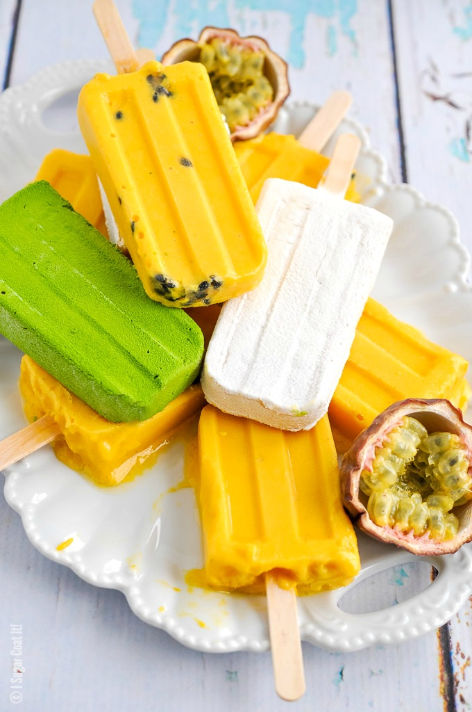 Creamy Mango Passion Fruit Popsicles