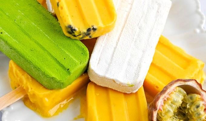 Creamy Mango Passion Fruit Popsicles