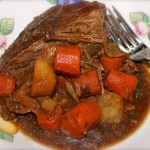Pot Roast with Vegetables, Garlic and Porcini Mushrooms