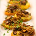 Polenta Crostini Bites with Caramelized Mushroom Cicchetti – Venetian Tapas