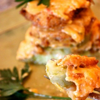 fried green tomato stack with pimento cheese