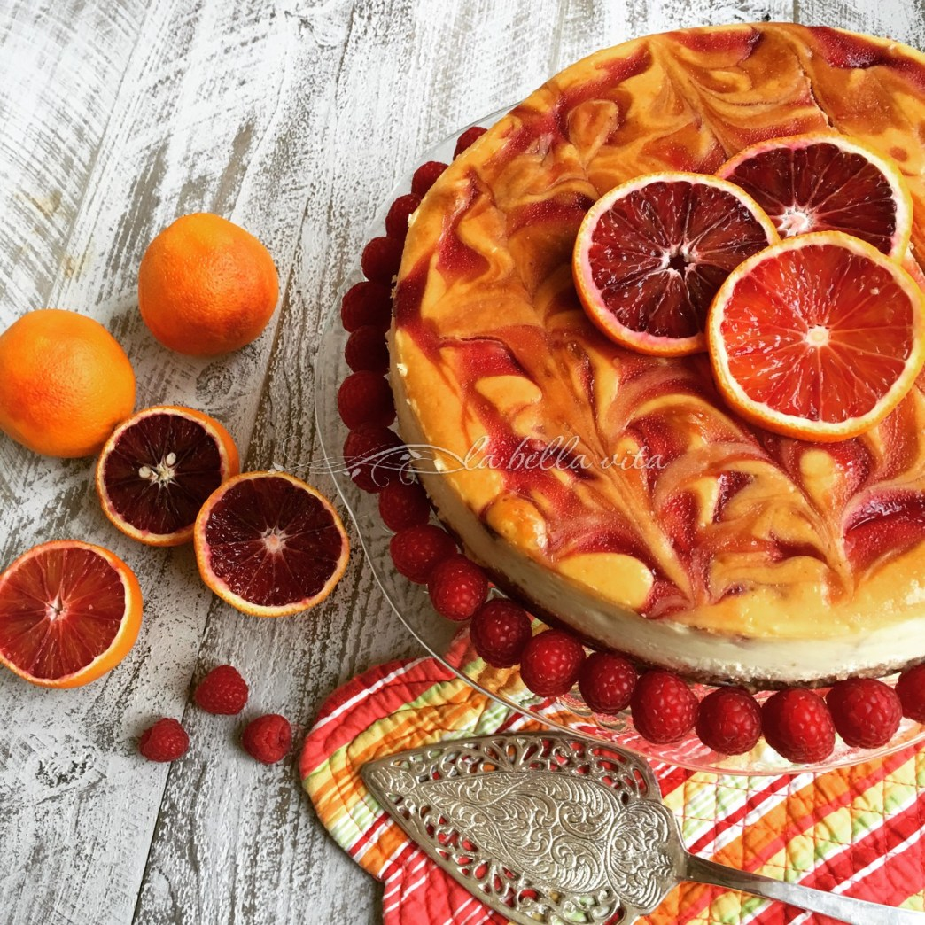 Blood Orange and Raspberry Swirl Cheesecake - La Bella ...