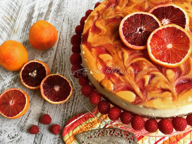 Blood Orange and Raspberry Swirl Cheesecake