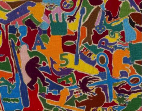 """Alighiero e Boetti """"Tutto"""" (embroidery detail), 1988"""