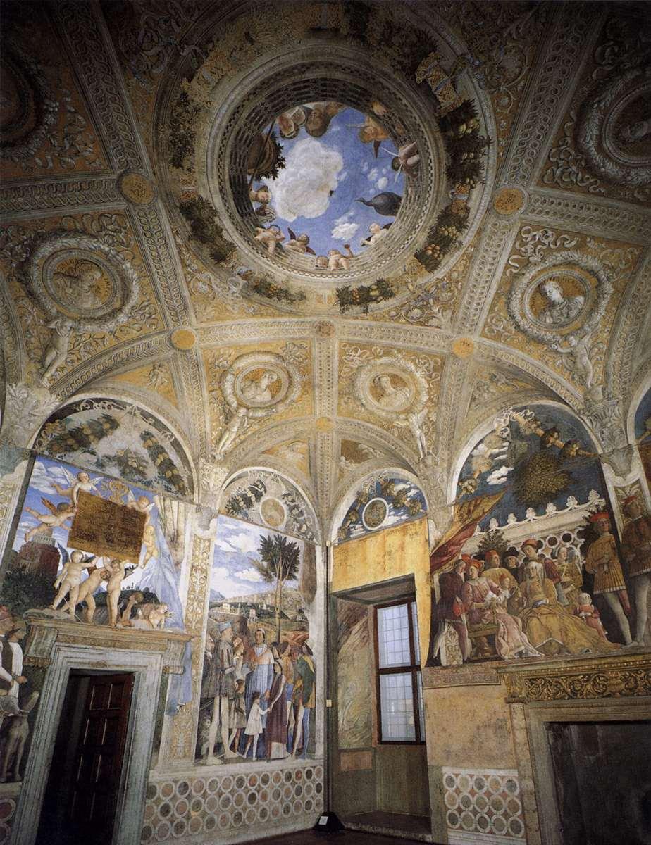 Duizelingwekkende plafondschilderingen en buitelende for Mantegna camera sposi