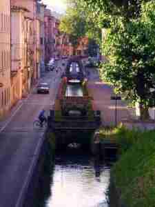 Biking Along a Canal in Lucca