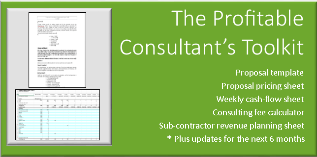 Consulting proposal template, spreadsheets, and other tools