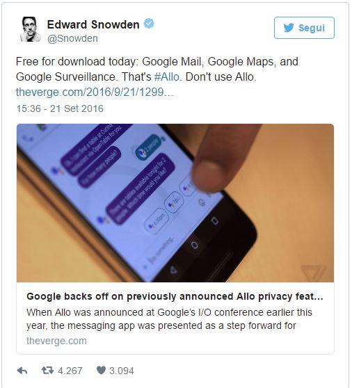 Google Allo: la privacy non è totale come Google vorrebbe farci credere