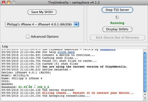 TinyUmbrella iPhone 4 Start TTS