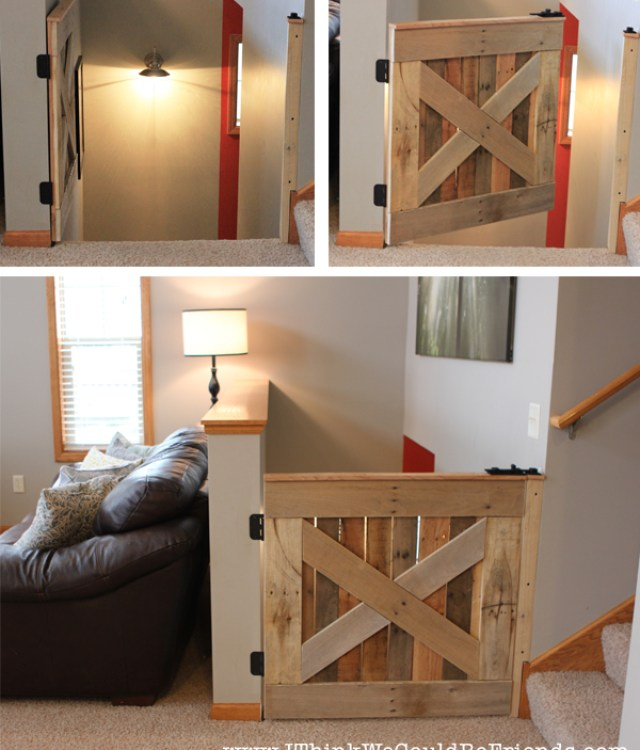 pallet wood baby and pet gate | I Think We Could Be Friends