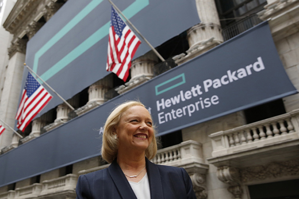 Hewlett Packard Enterprise President and Chief Executive Officer Meg Whitman stands outside the New York Stock Exchange. CREDIT: Eric Draper