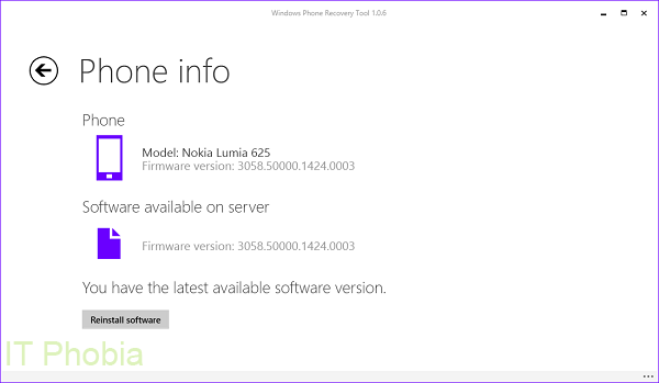 Windows Phone Recovery tool - Phone info