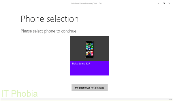 Windows Phone Recovery Tool - Phone Selection