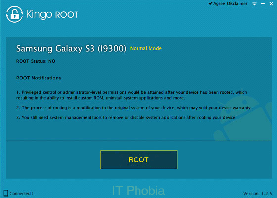 Kingo Android Root device connected