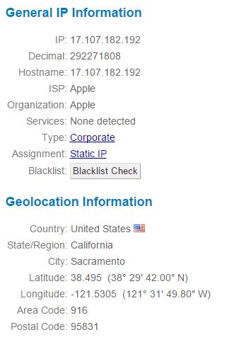 Apple Campus IP Address