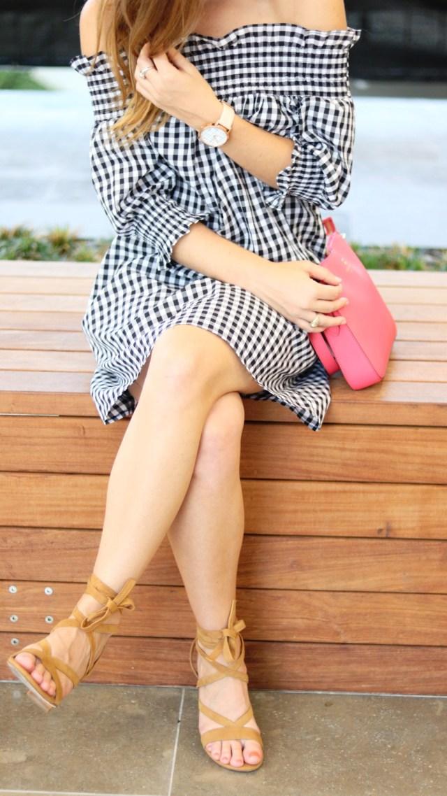 Gingham off the shoulder dress + lace up sandal heels + tassel earrings