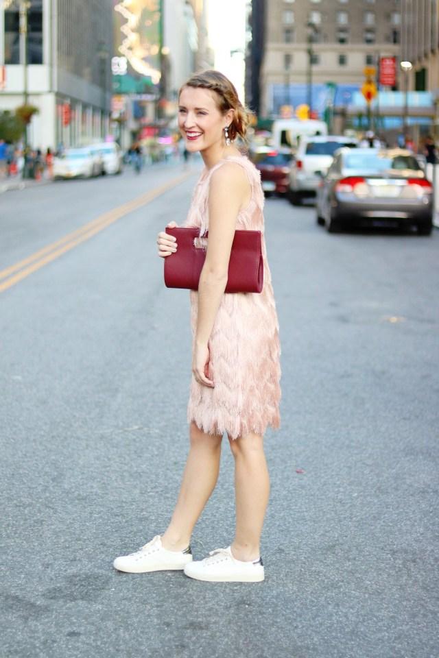 NYFW Street Style: Pink fringe dress + sneakers