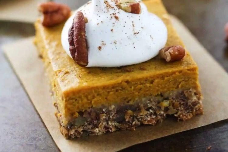 Skinny Pecan Pumpkin Pie Bars