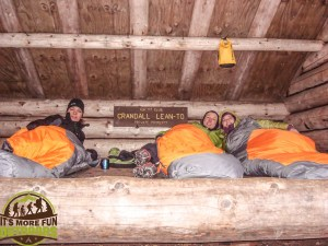 11/16/14: The gang all cozy in the lean to! Winter camping trip at the Crandall Lean To in John's Brook Valley..