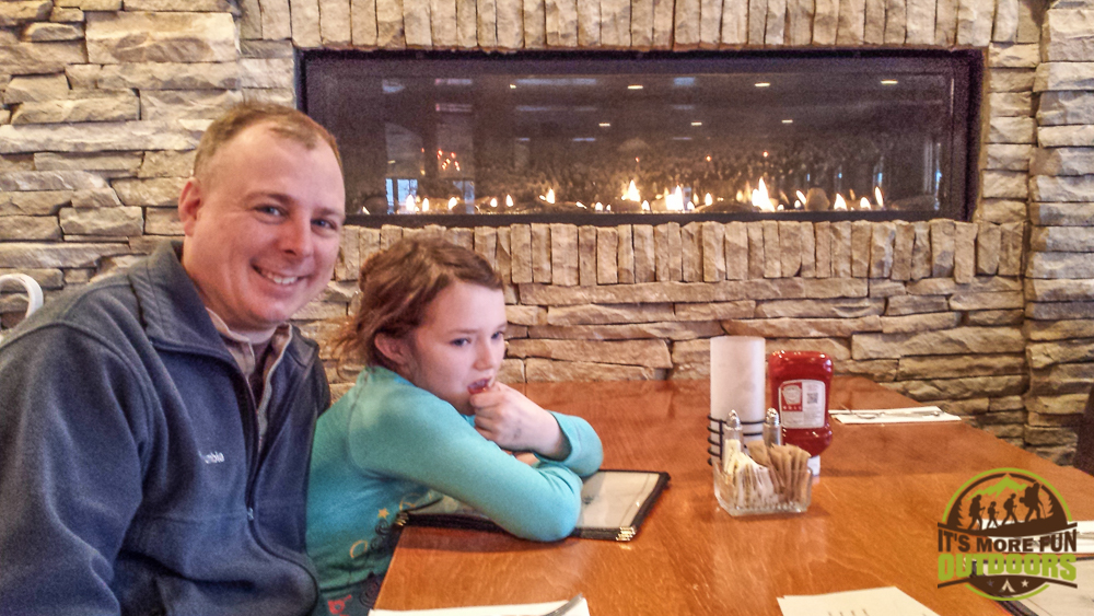 02.14.15 The beautiful restaurant at the Golden Arrow Lakeside Resort in Lake Placid, NY. Cool fireside table and AWESOME food!