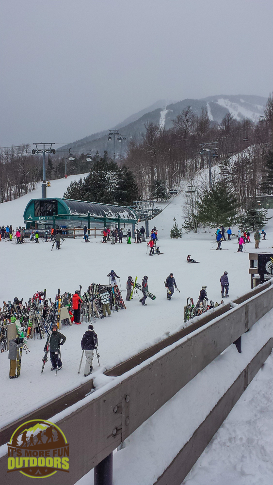 Chairlift and bustling area around the Olympic Mountain ski lodge: Whiteface Mountain 2.14.15
