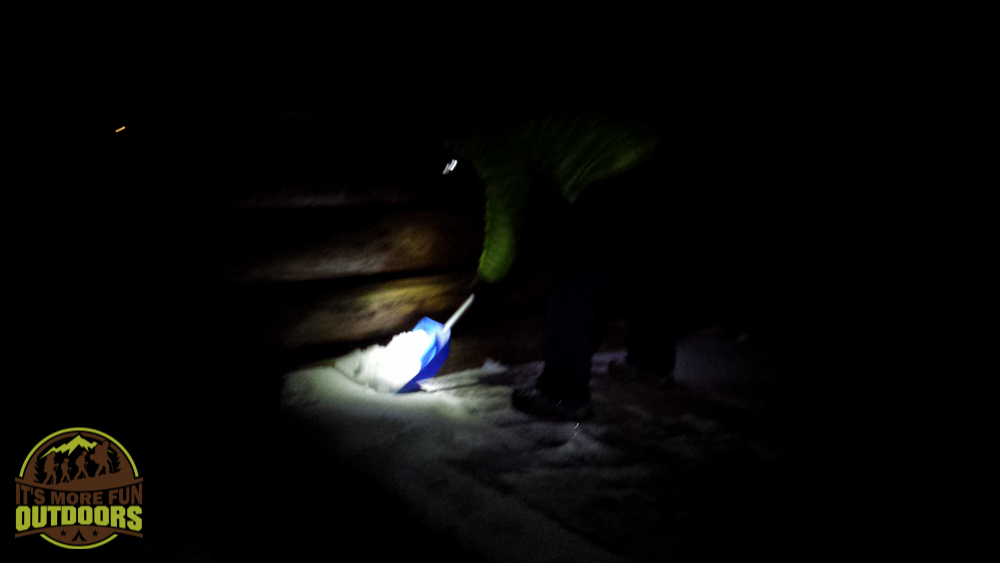 3.7.15: Shoveling the snow out of the lean to by headlamp. Last-minute overnight in a lean to at ADK's Hear Lake Wilderness Campground.