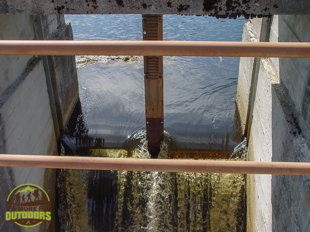 Water going over the dam. 2015 BOG RIVER FLOW