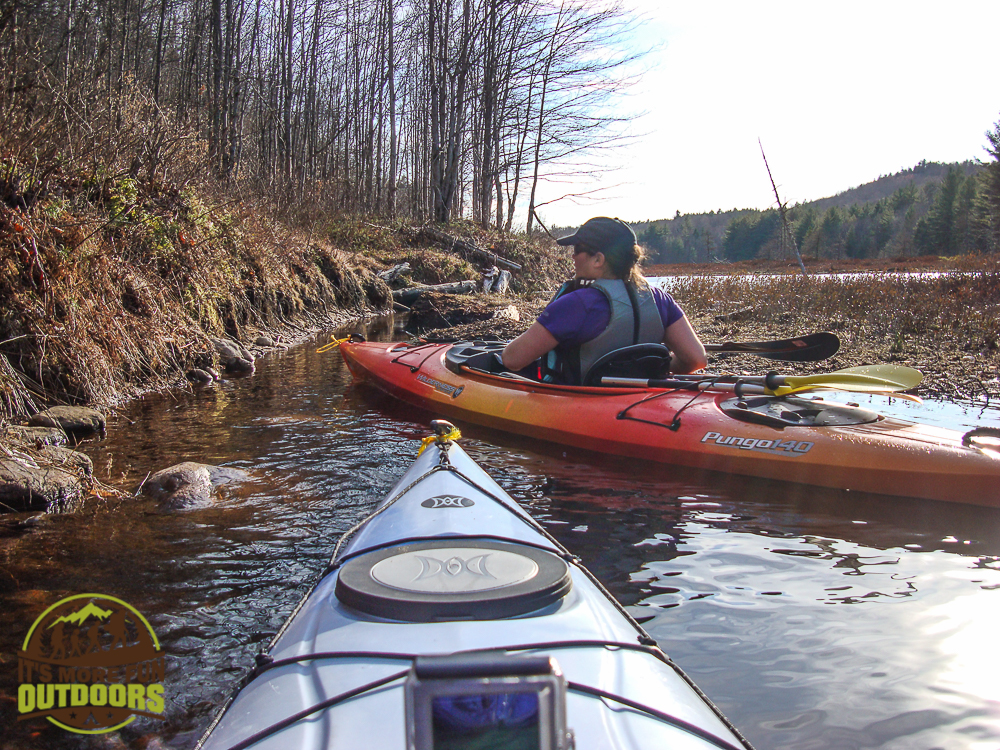 Entry into the first super narrow, shallow channel of the floating bog!. We had to get out of the boats and float them through for maybe 10-20 feet. May 2015 bog River Flow Hike, Paddle, Camp!