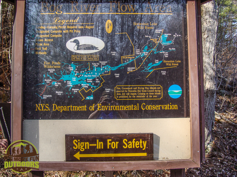 You sign in here to continue past Low's upper dam. 2015 BOG RIVER FLOW