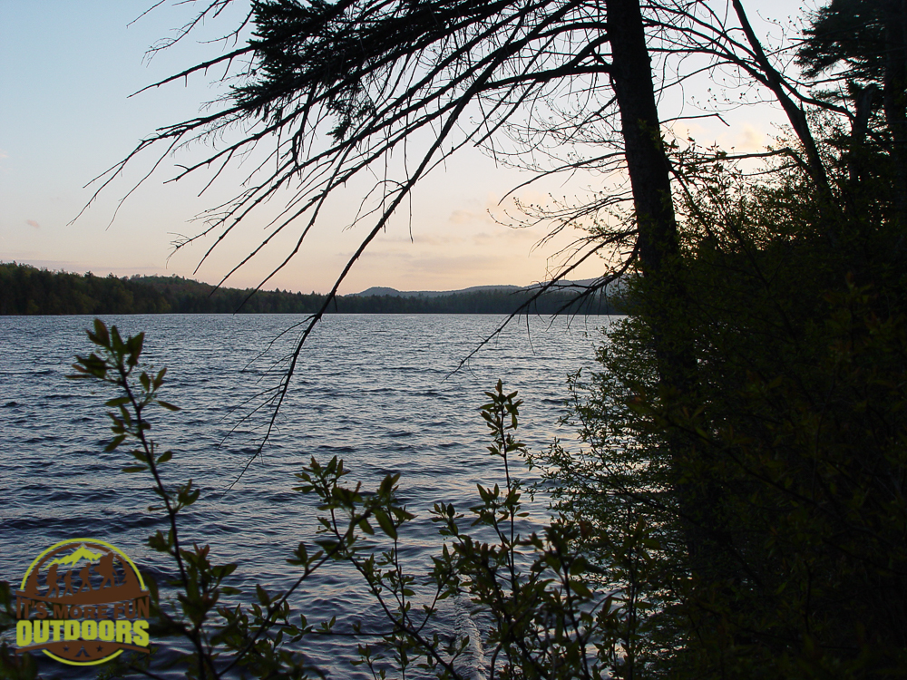 Lake view from campsite #1 on Horseshoe Lake. A nice plan B for a Saturday evening arrival in mid-May.
