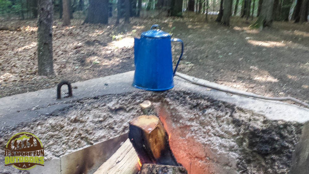 Coffee brewed on the campfire, camp is quiet. The AWESOME group campsite. Car Camping, hiking, kayaking, canoeing at Moreau Lake State Park Campground