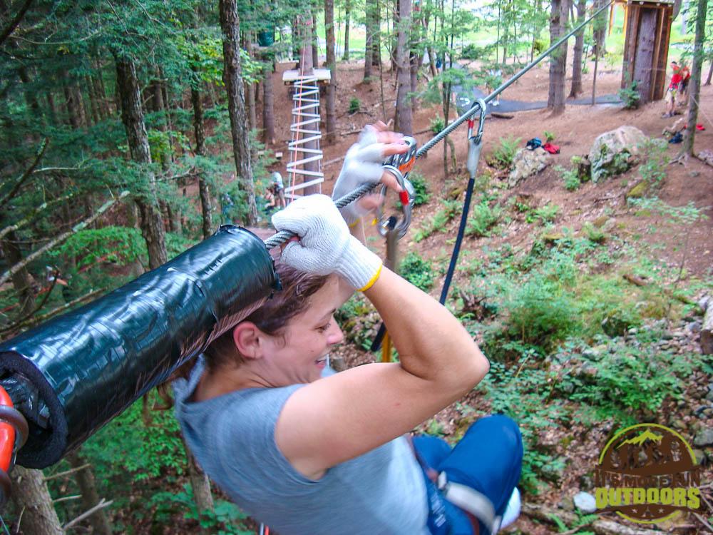 Backwards zipline!!! Adirondack Extreme Treetop Obstacle Zipline Course in Bolton Landing/Lake George area,  upstate NY!