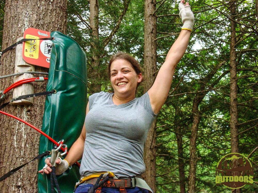 WOOHOOO Still alive!!! Gettin' my Tarzan on!!! Adirondack Extreme Treetop Obstacle Zipline Course in Bolton Landing/Lake George area,  upstate NY!