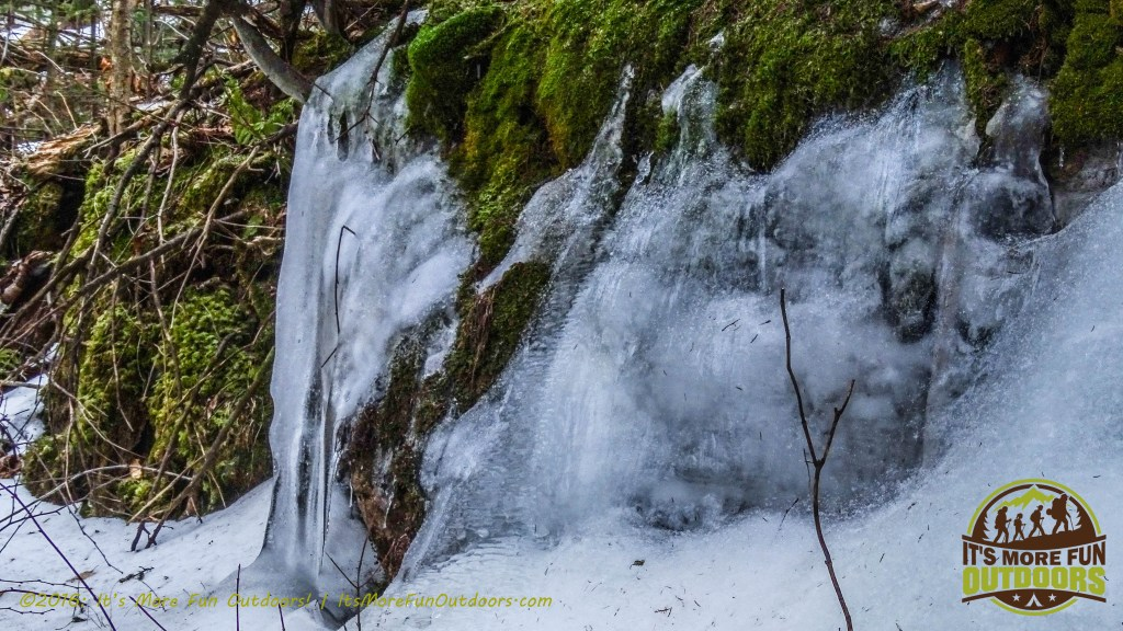 Beautiful ice formation along the trail. February 5, 2016 Black Mountain: My First SOLO Winter Fire Tower Challenge Hike!