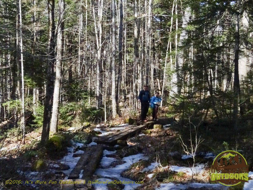More bog bridging to help you through the muddy trail sections. Owl's Head Winter Fire Tower Challenge Hike, Long Lake, NY, Adirondacks, March 13, 2016
