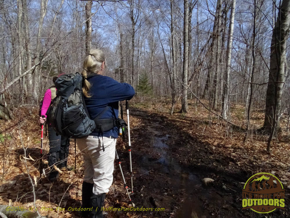 A very muddy section of trail - wear good boots and gaiters! Owl's Head Winter Fire Tower Challenge Hike, Long Lake, NY, Adirondacks, March 13, 2016