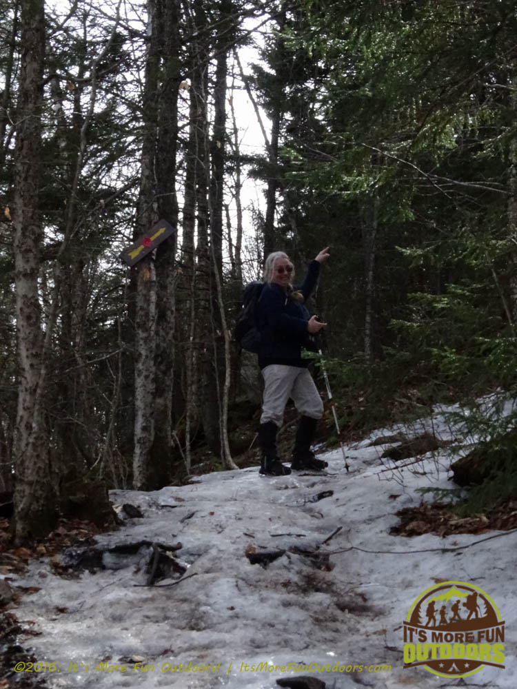 Going up, and we are NOT KIDDING! Here comes the steep stuff! Owl's Head Winter Fire Tower Challenge Hike, Long Lake, NY, Adirondacks March 13, 2016