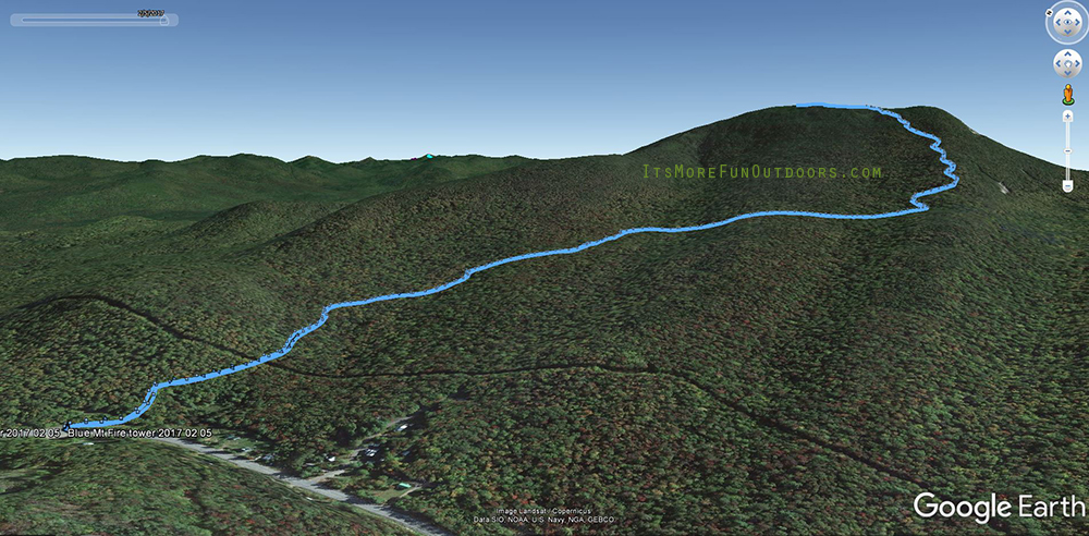 Overlay of our GPS track on Google Earth. Blue Mountain Winter Fire Tower Challenge Hike, February 5, 2017.